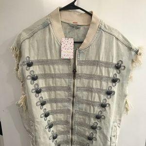 Freepeople Embellished Denim Zip Vest